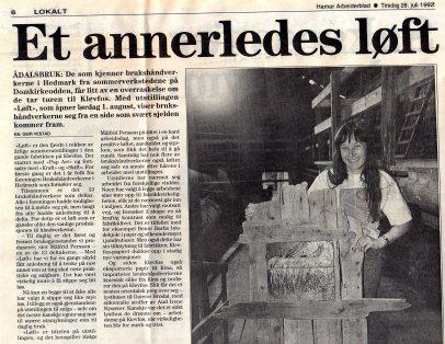 92 Løft Klevfos 92 avis1321